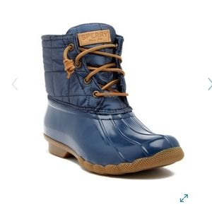 💐 Sperry Saltwater Shiny Quilted Duck Boots NWT
